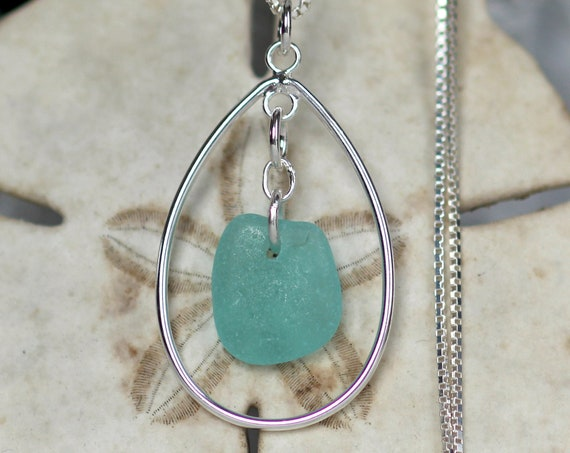 Sea Keeper sea glass necklace in aquamarine