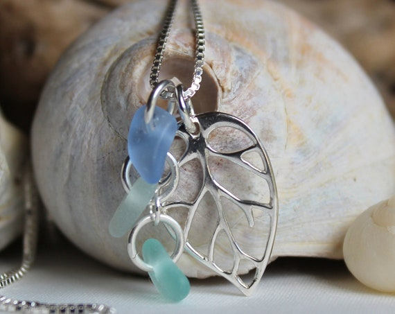 Little Leaf sea glass necklace in cornflower blue, aqua and white