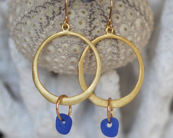 Verge gold filled sea glass earrings in cobalt