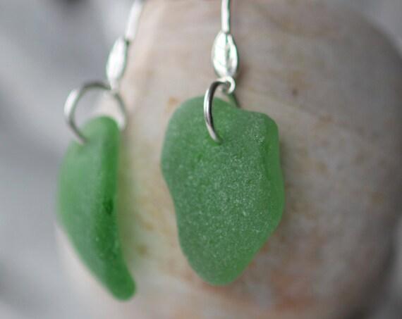 Little Leaf sea glass earrings in kelly green