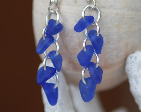 Cascade sea glass earrings in cobalt blue