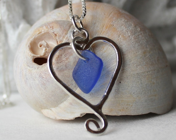 With Love, from the Sea beach glass necklace in cobalt blue