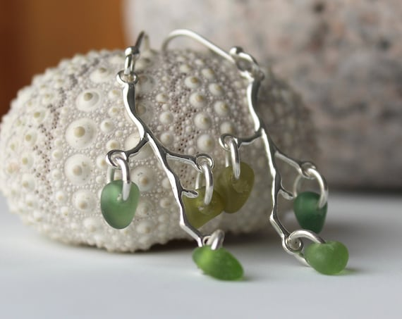 Winterberry sea glass earrings in shades of green