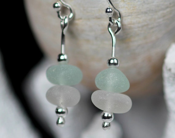Sea Stack beach glass earrings in seafoam and white