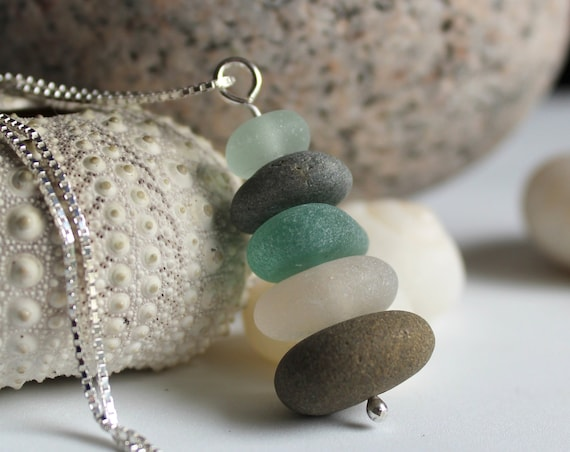 Sea Stack beach pebble and sea glass necklace in teal and earth tones