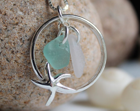 Sea Star necklace in aqua and white