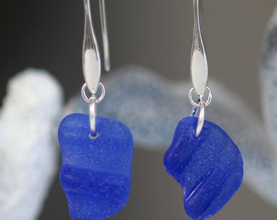Horizon sea glass earrings in cobalt blue bottle rims