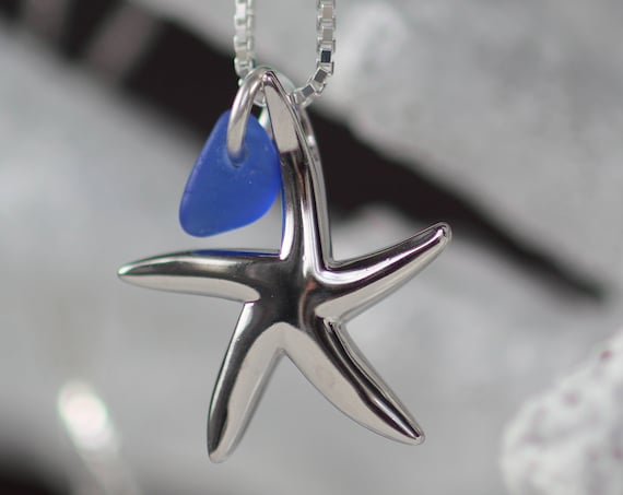 Little Starfish sea glass necklace in cobalt blue