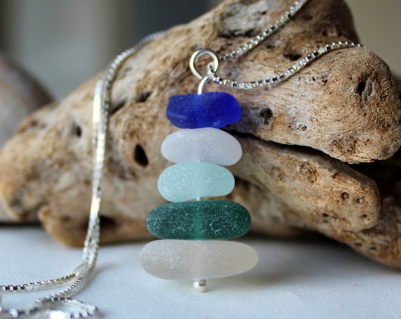 Sea Stack sea glass necklace in ocean blues, green and white