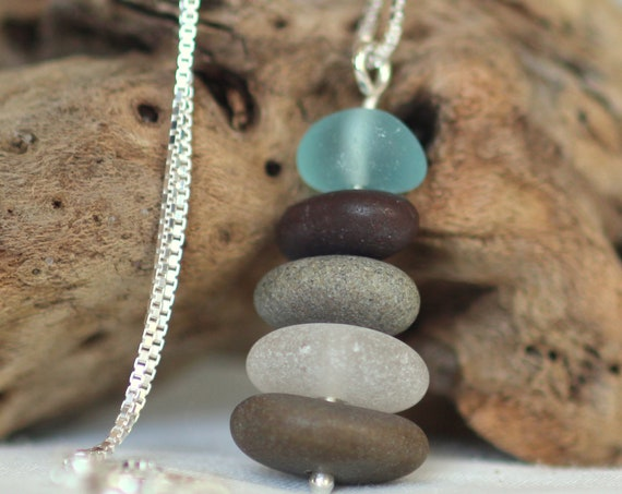 Sea Stack beach pebble and sea glass necklace in aqua and earth tones