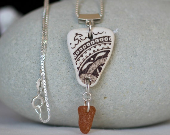 Sea Pottery and sea glass necklace in earth tones