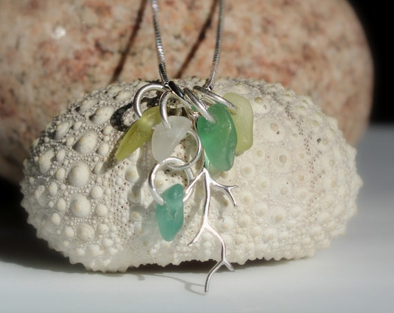 Winterbranch sea glass necklace in teal, citrine and white