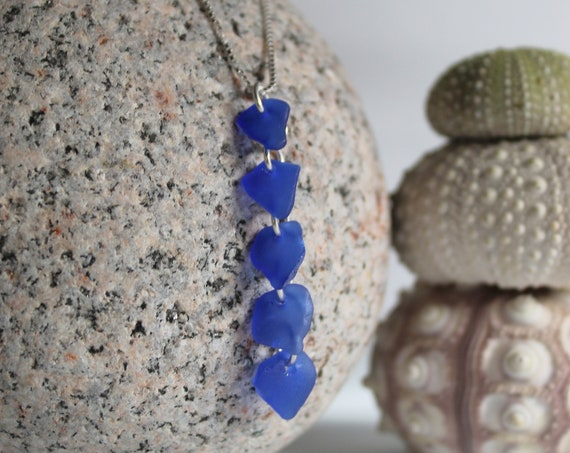 Waterfall sea glass necklace in cobalt blue