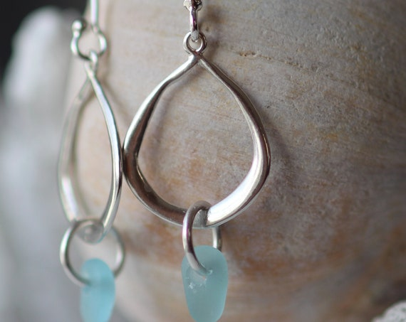 Waterline sea glass earrings in aqua