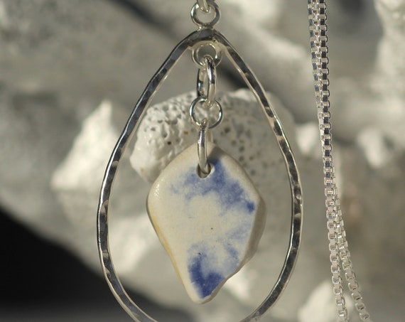 Sea Keeper blue and white sea pottery necklace