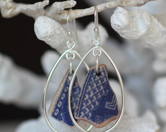 Sea Keeper sea pottery earrings in blue and white
