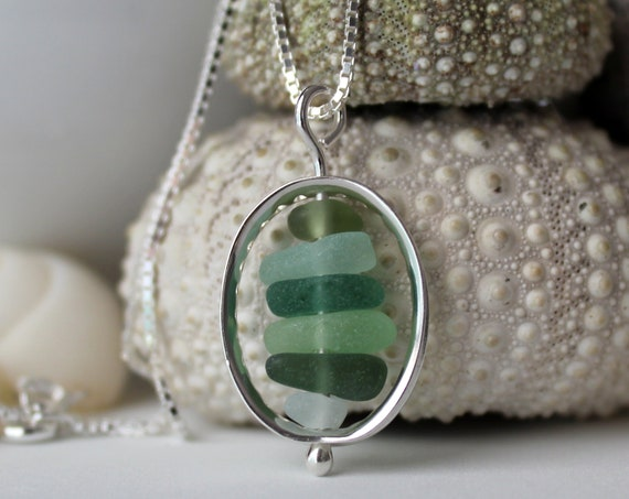 Drops in the Ocean sea glass necklace in greens