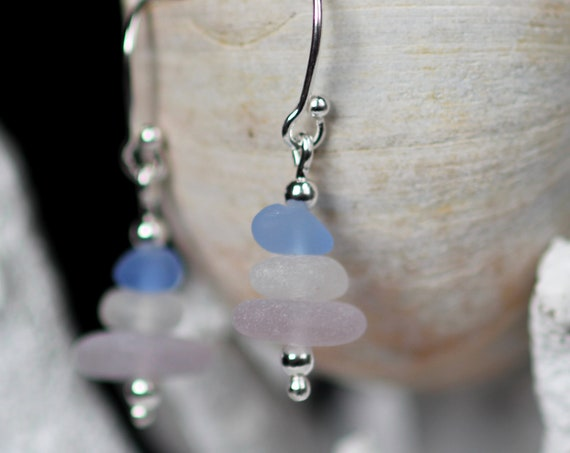 Sea Stack beach glass earrings in cornflower blue, soft pink and white