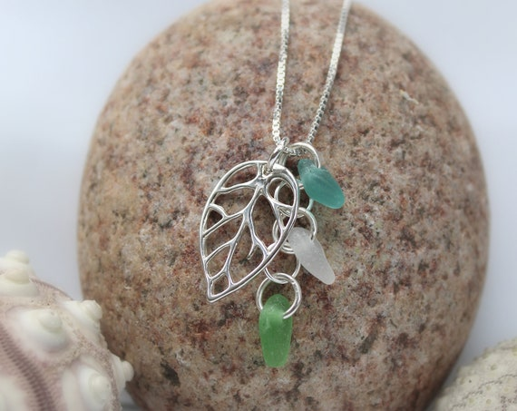 Little Leaf sea glass necklace in aqua, green and white