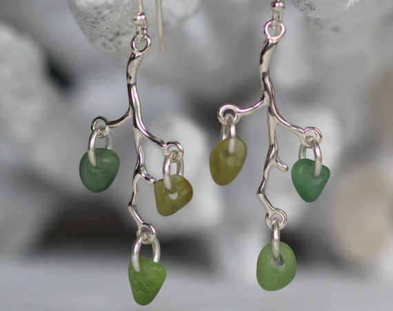 Winterberry sea glass earrings in ocean greens