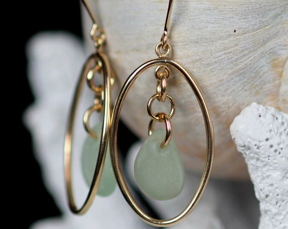 Earth and Ocean gold filled sea glass earrings in seafoam