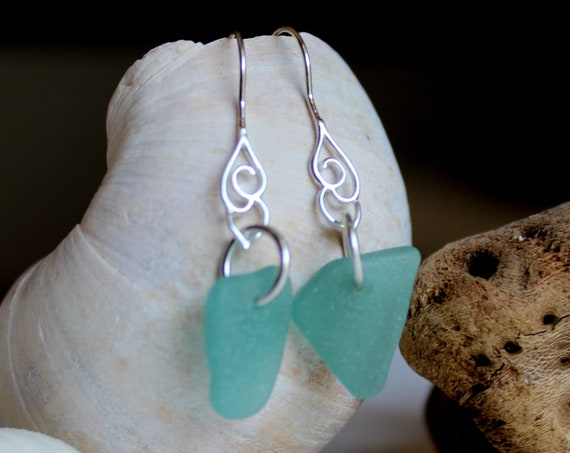 Whitecap sea glass earrings in teal green