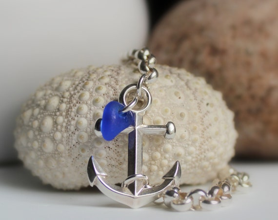 Anchored sea glass bracelet in cobalt blue