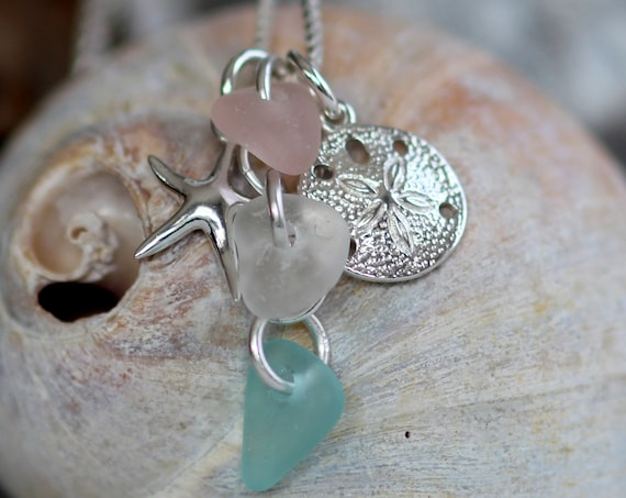 Ocean sea glass necklace in pink, white and soft aqua