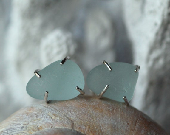 Tiny Ocean sea glass stud earrings in softest blue