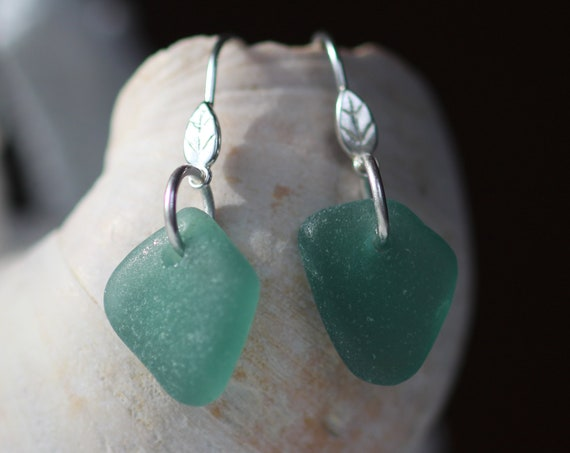 Little Leaf sea glass earrings in teal green