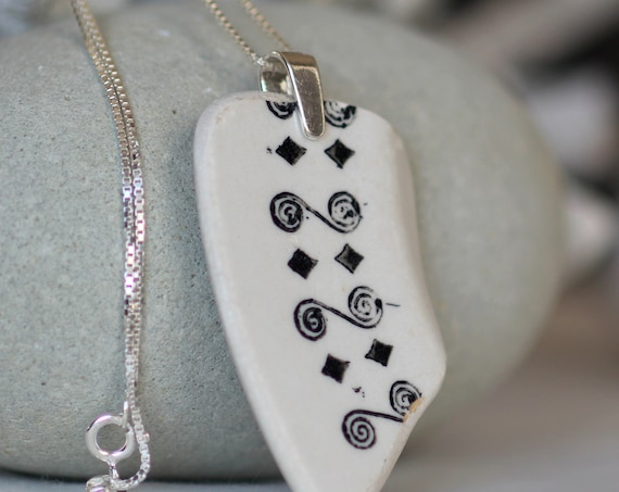 Sea Story black and white sea pottery necklace