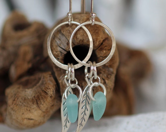 Boho Beach aqua sea glass earrings