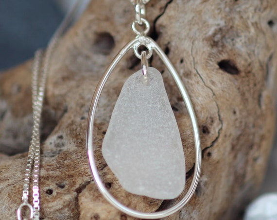 Sea Keeper sea glass necklace in pure white