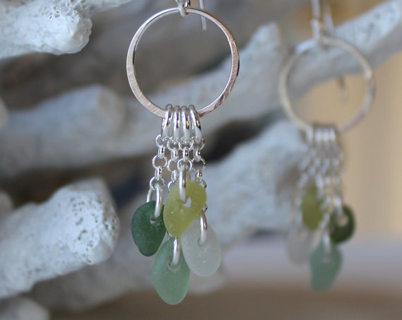 Sirena sea glass earrings in teal, citrine and white