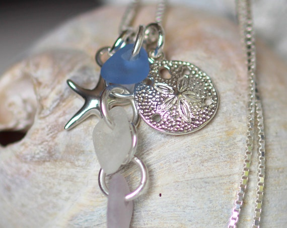 Ocean cluster sea glass necklace in pink, white and cornflower blue