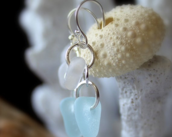 Two Tides sea glass earrings in soft aqua and white