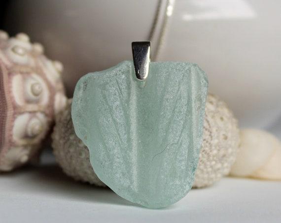 Antiquity sea glass necklace in soft aqua