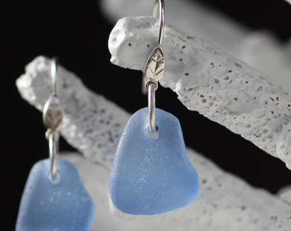 Ripples in the Sea cornflower blue sea glass earrings