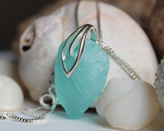 On hold for Char- Turquoise Sea intense aqua sea glass necklace