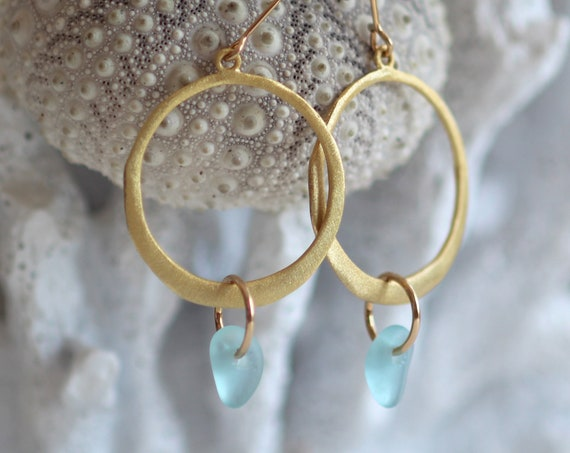 Verge gold filled sea glass earrings in aqua