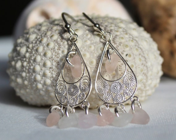 Sea Siren sea glass earrings in pink and white