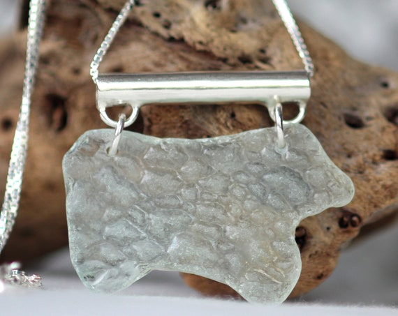 On hold for Johanna- Shivering Sea sea glass necklace in pure white