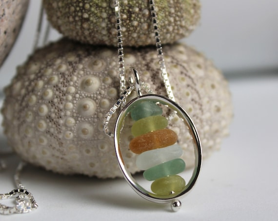 Drops in the Ocean sea glass necklace in earth tones