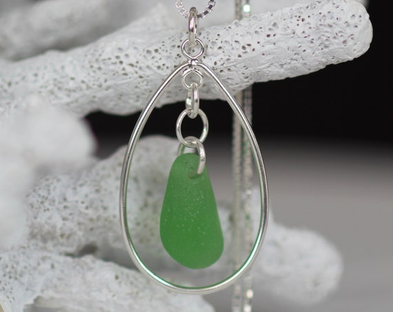Sea Keeper sea glass necklace in true green