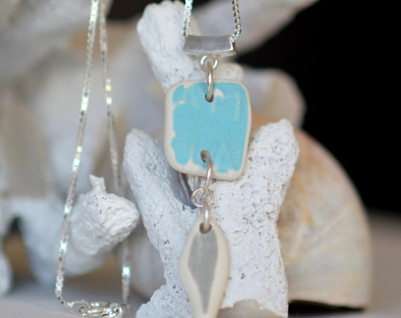 Sea Pottery necklace in aqua and gray