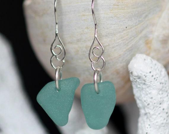 Whitecap sea glass earrings in teal green