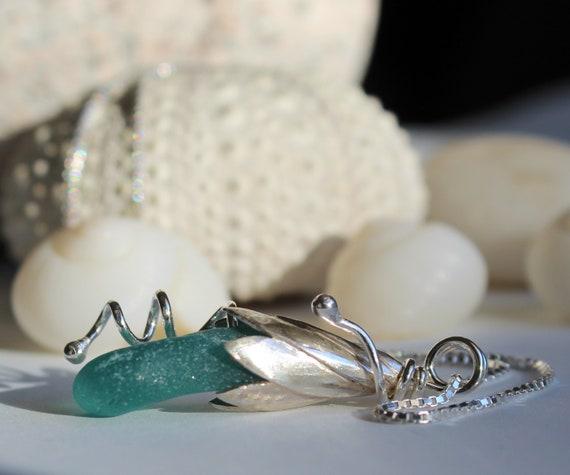 Sea Lily beach glass necklace in aqua