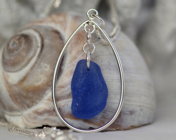 Sea Keeper sea glass necklace in cornflower blue