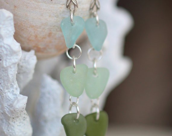 Ondine sea glass earrings in aqua, seafoam and olive