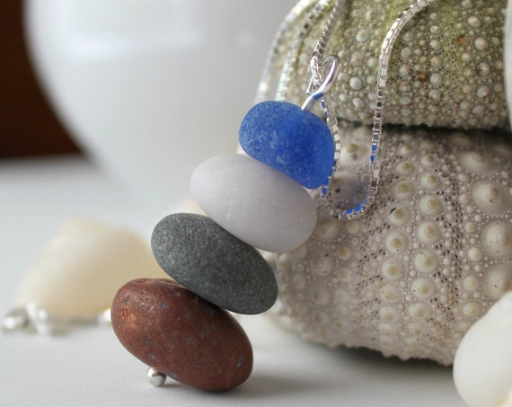 Sea Stack beach pebble and sea glass necklace in cobalt blue and earth tones